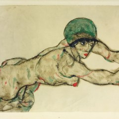 Egon Schiele lithograph, female nude to the right
