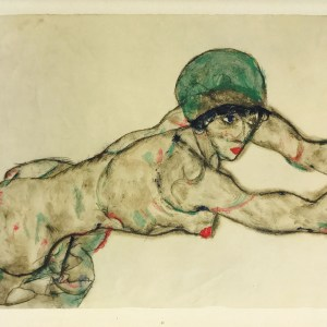 Schiele Lithograph 42, Side View of Half Nude, 1968