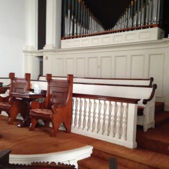 Looking at Platform pulpit chairs, Center Congregational