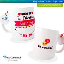 Mug Quiero Ser Tu Primera Sonrisa Rosado_logo
