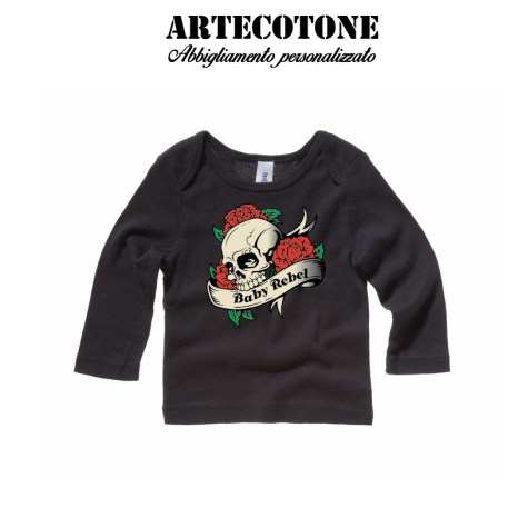 T-shirt baby rebel skull and Rose