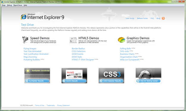 Preview de Internet Explorer 9