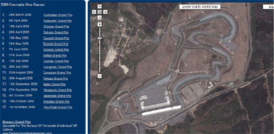 Formula 1 en Google earth