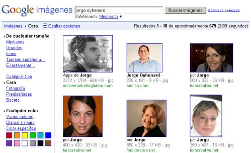 Google reconocimiento Facial