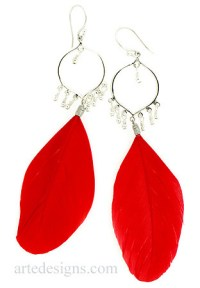 Red Feather Earrings with Fiesta Hoops