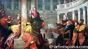 """Pintura del Cinquecento """"La disputa con los doctores en el templo"""" de Pablo Veronés"""