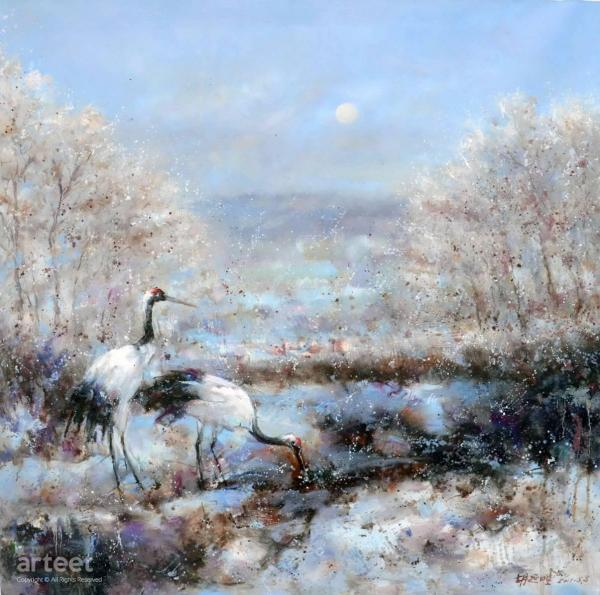 Two Cranes In Snow Art Paintings Online