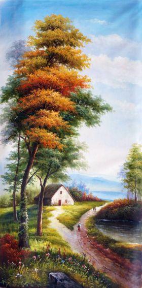 idyllic landscape with cottage