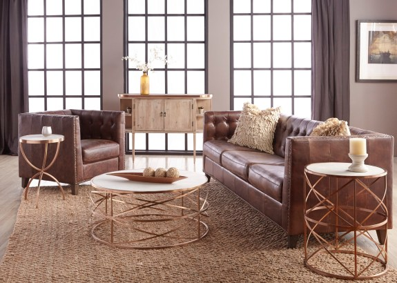 Melrose Coffee Table – Rose Gold – Setting 2