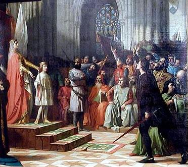 María de Molina presenta a su hijo Fernando IV en las Cortes de Valladolid de 1295