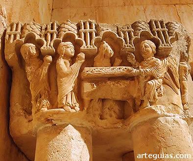 Capitel de la Visitatio Sepulchri, procedente del claustro