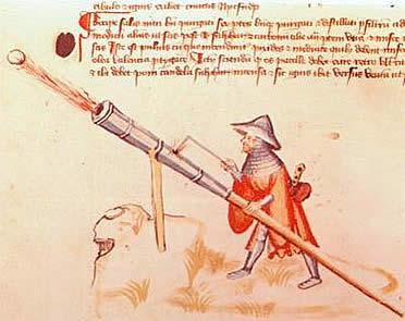 Lámina del Tratado Bellifortis (s. XV). Las armas de proyectil trajeron consigo nuevas estrategias militares en la guerra de la Baja Edad Media.