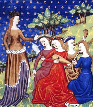 Mujeres tocando instrumentos musicales en la Edad Media
