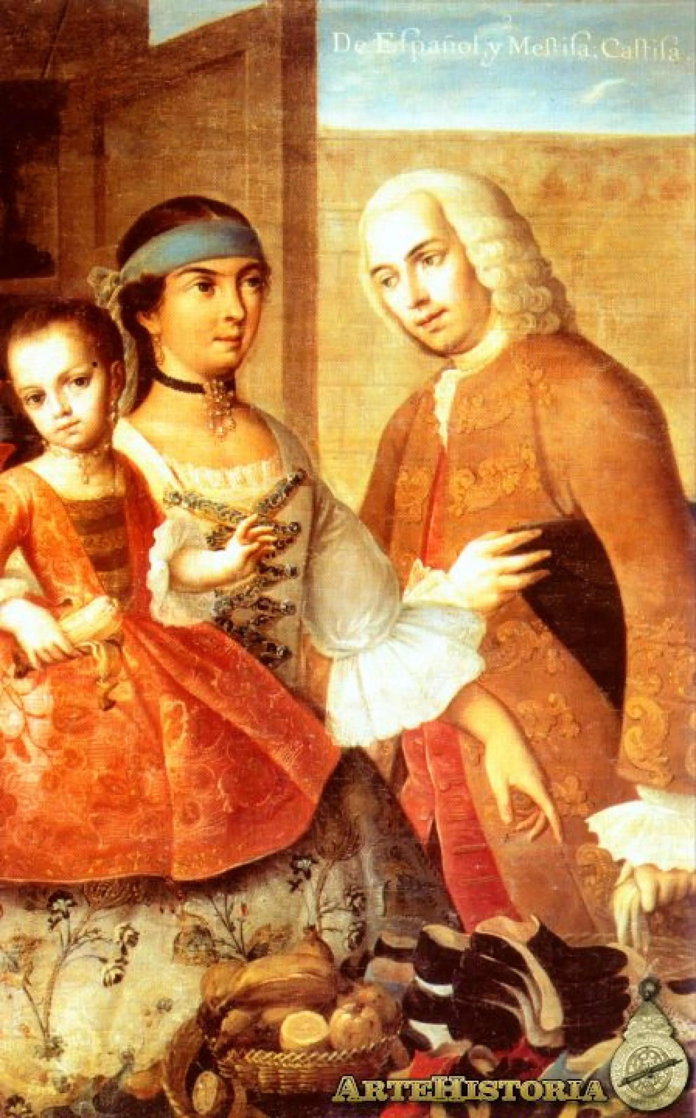 Pintura de mestizaje De Espaol y Mestiza Castiza