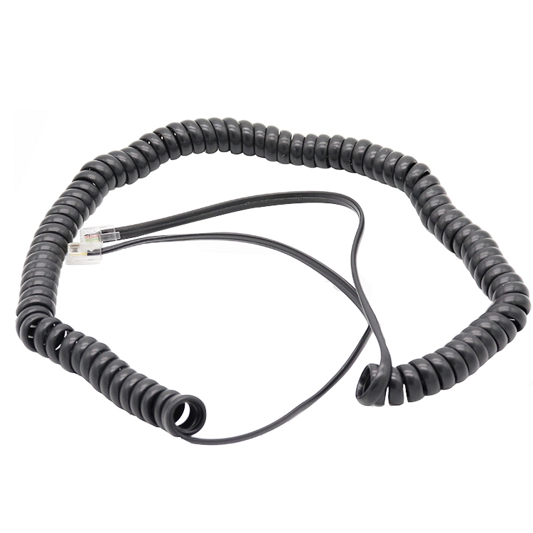 6p4c Curly cable China factory,RJ11 Spiral cable supplier