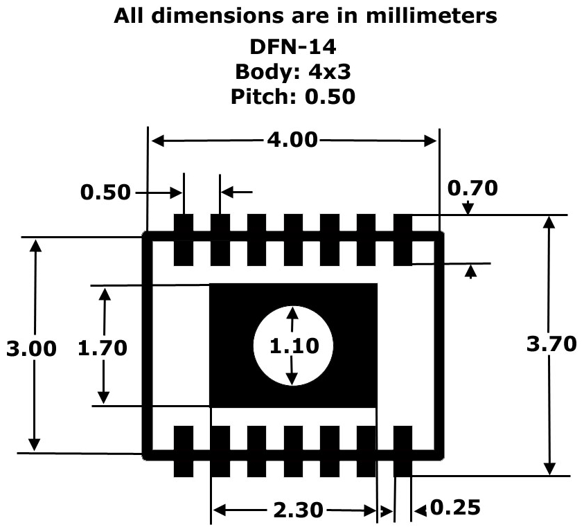 DFN14 to DIP Adapter 4mm x 3mm  P050 Pack of 2  Artekit