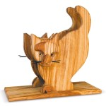 Napkin Holder With Cat Relief In Olive Wood Arte Legno Spello
