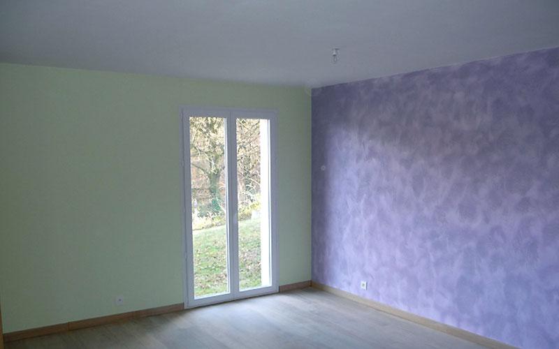 Peinture effet sable parme pour une chambre  Artelekfr