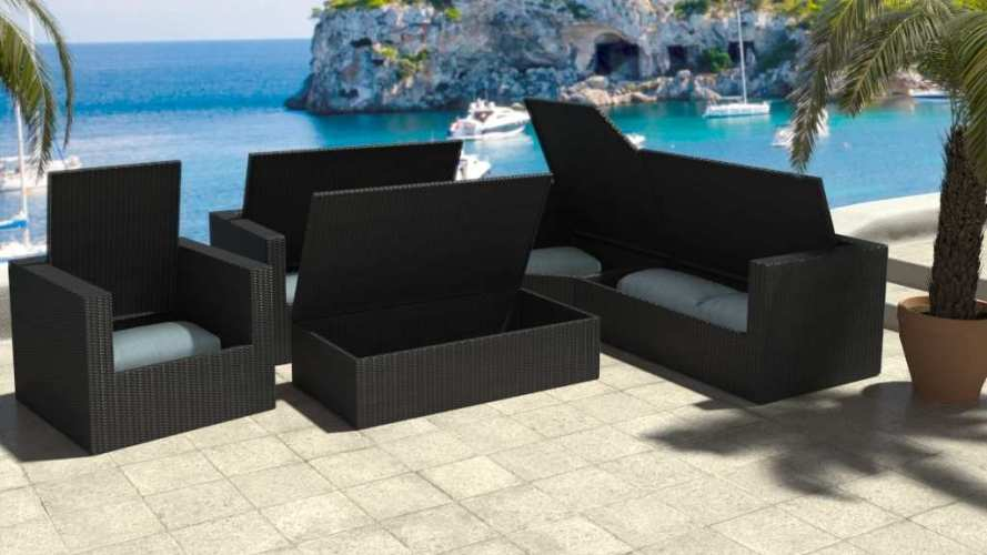 corner sofa uk delivery portable table artelia | outdoor rattan set with clever ...