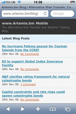 The Artemis Blog as it will look on an iPhone