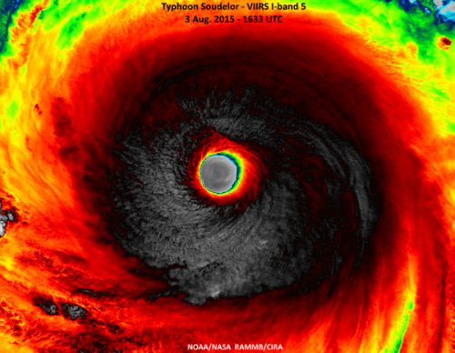 Typhoon Soudelor at super typhoon strength