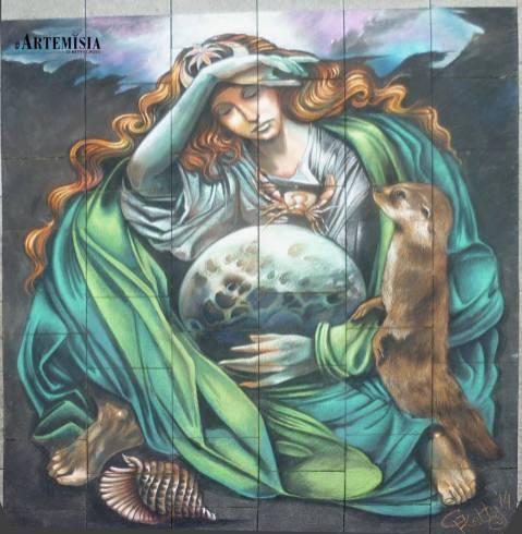StreetFestival in Wilhelmshaven ' Il Tramonto della Luna' - Chalk on street. Copy to paint to my friend Sandro Vasini. mt 3x3