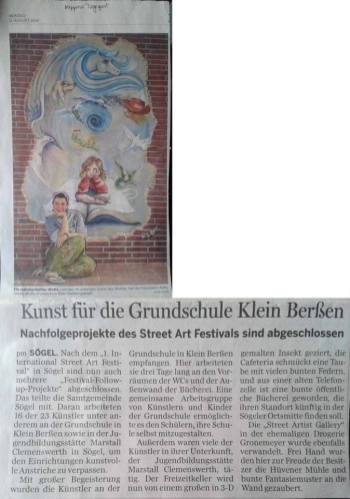 11 Agosto 2014 - Article in a German newspaper about the festival and the murals of Soegel.