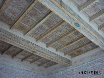 Wooden ceiling. Clean, consolidated and retouched.
