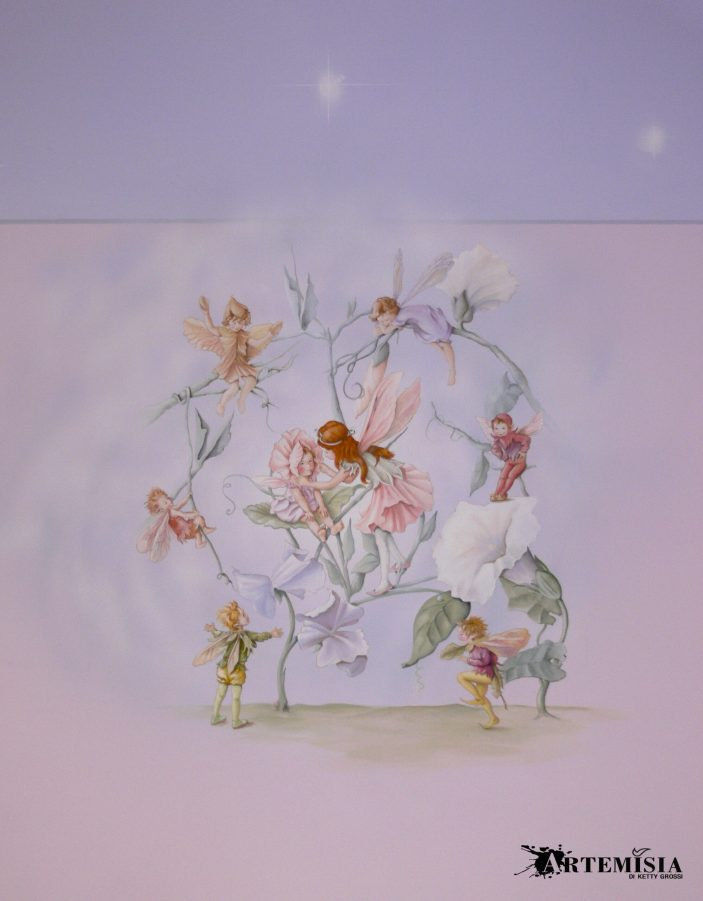 Decoration with fairies for children's clothing store.