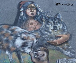 "Venice - Florida 2014 - Chalk Festival in Venice celebrating 'Extinct and Endangered Species' - Personal Theme: ""The spirit of Wolf"" Chalk on pavement - mt 4,2x4"