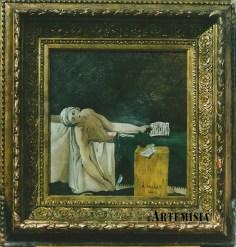 """Death of Marat"" David. Oil on antiqued linen canvas."