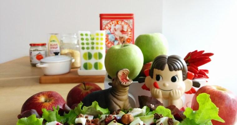Insalata con barbabietola, formaggio di capra e mela verde