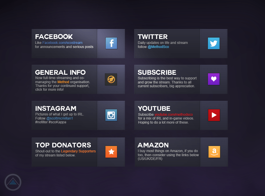 User Interface Twitch Profile Bio Sco