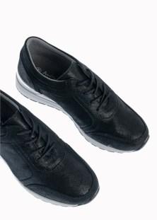 Kiara Δερμάτινο Αθλητικό Sneaker, Μαύρο