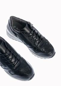 Luna Δερμάτινο Αθλητικό Sneaker, Μαύρο