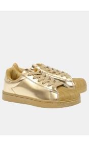 Emma sneaker με χρυσή σόλα, χρυσό