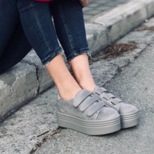Jenna suede sneaker, light γκρι