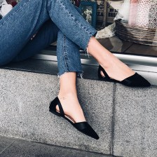 Alice pointed flat shoe, μαύρο