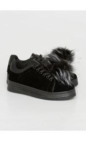 Duffy suede sneaker, μαύρο