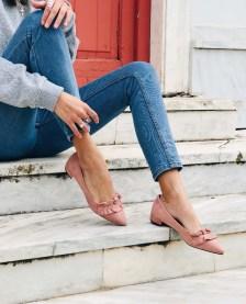 Elizeta pointed flat shoe, baby pink