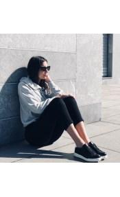 Erin δερμάτινο sneaker, μαύρο