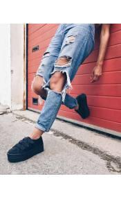 Riri suede sneaker, μαύρο