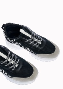 Koni Αθλητικό Sneaker Ζέβρα, Μαύρο