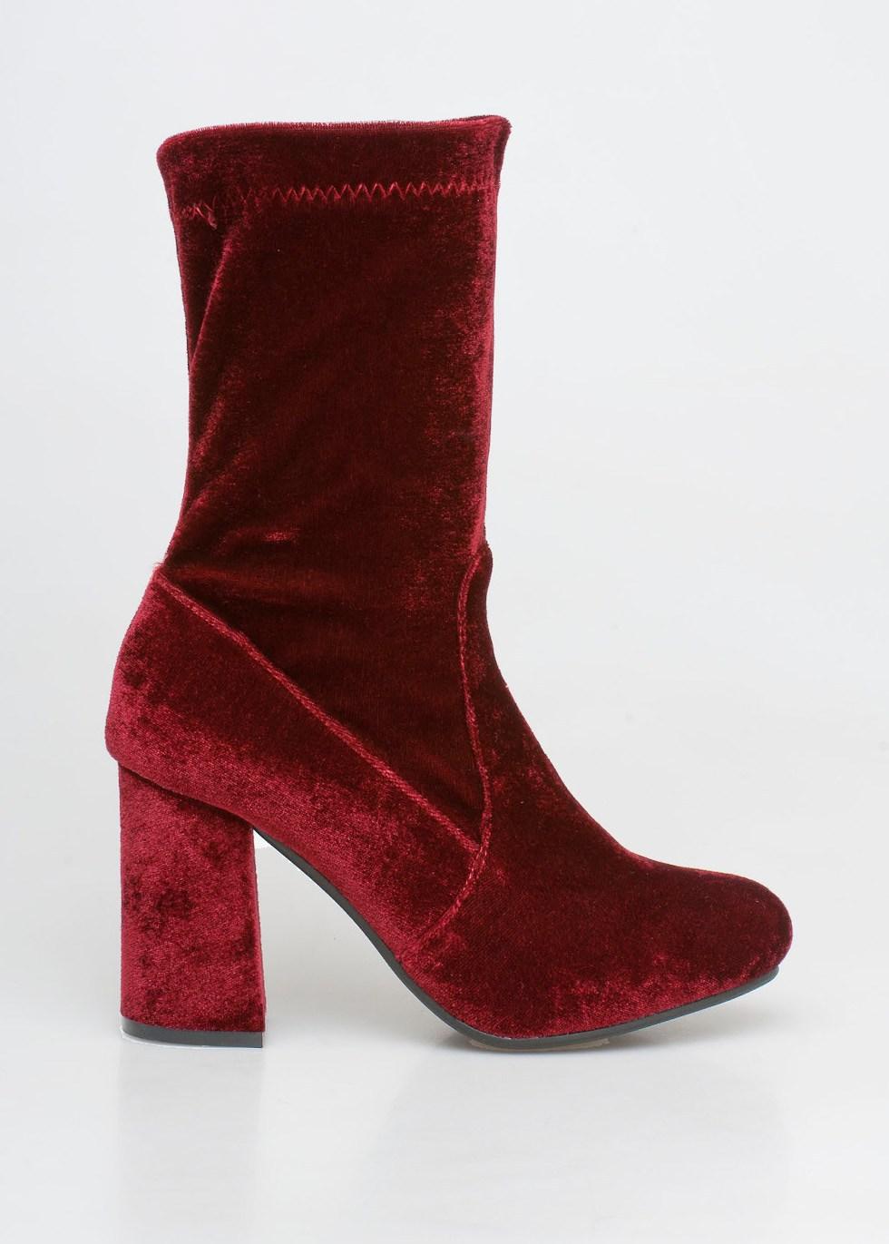 Kylie velvet sock boot, μπορντό
