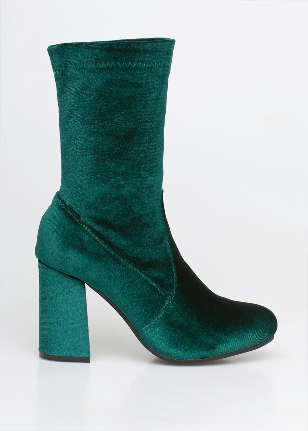 Kylie velvet sock boot, πράσινο