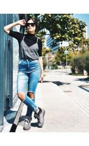 Andriana suede fur sneaker, γκρι