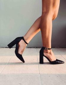 Alivia Leather Like Γόβα, Μαύρο