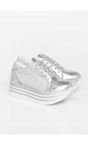 Nicole δερμάτινο sneaker, ασημί