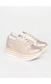 Nicole δερμάτινο sneaker, χρυσό