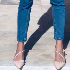 Riley leather like γόβα, baby pink